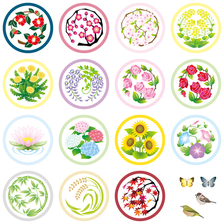 seasonal flower icons Çizim