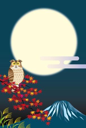 owl under a full moon
