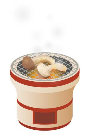 Matsutake mushrooms on the Japanese charcoal stove