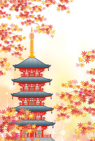 Five-storied pagoda in autumn