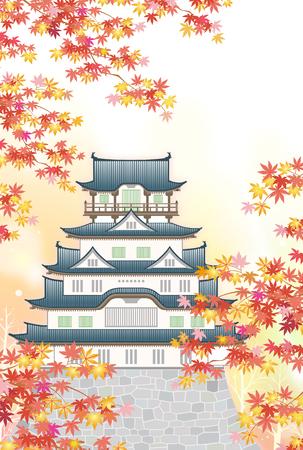 Japanese castle in autumn