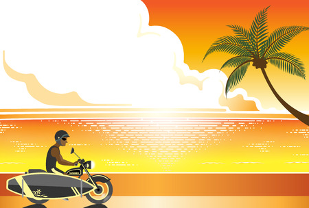 The surfer riding with a surfboard on his motorcycle