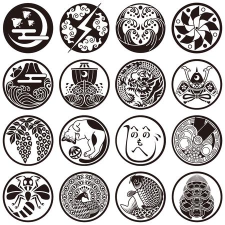 Japanse traditionele en culturele iconen Stock Illustratie