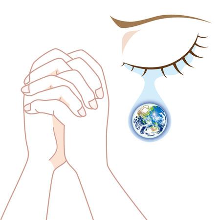 World Peace - Praying in Tears Illustration