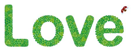 Love word made from green clover leaves, isolated on white background