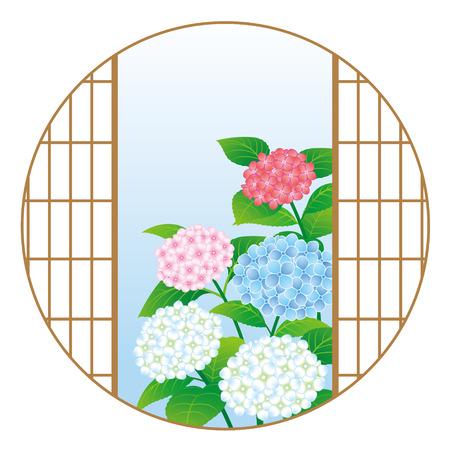 Hydrangea hortensiabloemen door het Japanse venster, dat op witte achtergrond wordt geïsoleerd Vector Illustratie