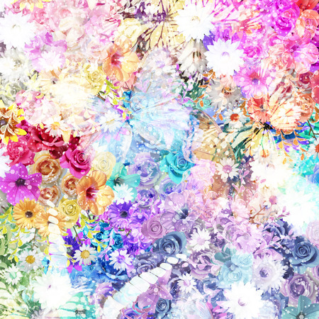 Colorful flowers background Banque d'images