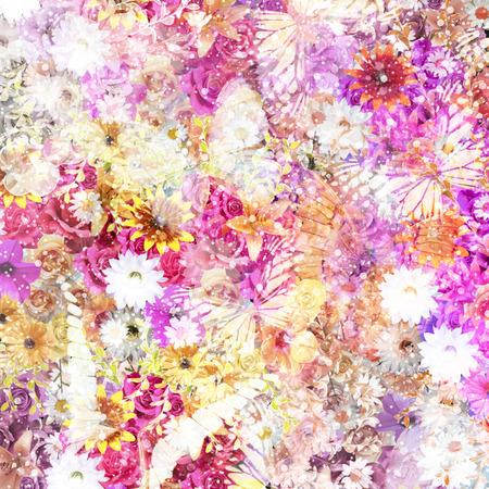 色とりどりの花の背景 写真素材