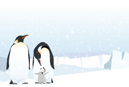 Emperor penguin family on the ice.