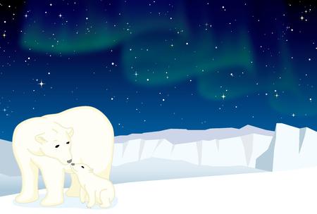 Ijsbeer en welp op het ijs