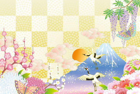 The first sunrise in Japan in checkered backdrop Illustration