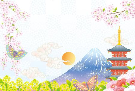 New year's landscape in Japan 矢量图片