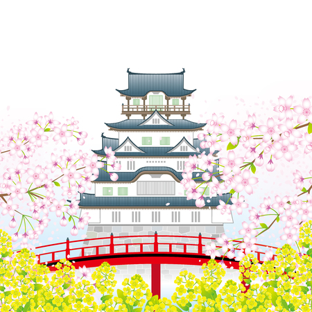 Japanese castle in the springtime Ilustracja