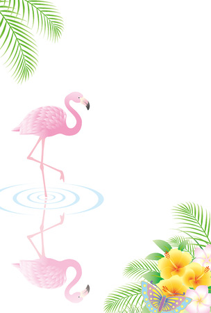 Illustration of flamingo in water with flowers on the side.