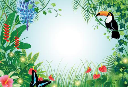 木と鳥の森  イラスト・ベクター素材