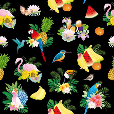 Set of various birds pattern