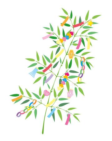 TANABATA Festival bamboo grass decoration, isolated on white background Illustration