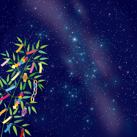 TANABATA Festival bamboo grass decoration on the Milkyway