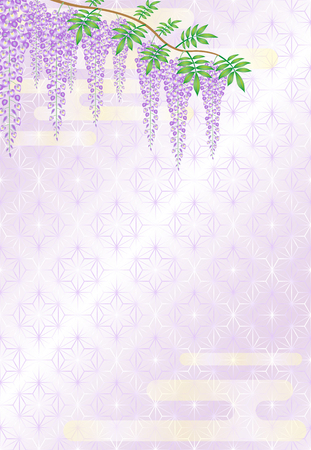 Wisteria flowers on Japanese traditional pattern