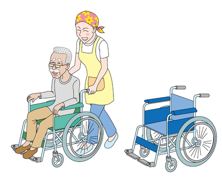A girl with a old man on a wheel chair on a white background. Illustration