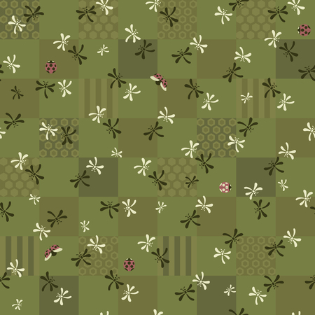 ladybug: seamless pattern with dragonflies