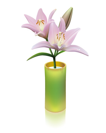 Pink lily flowers in a bamboo cylinder