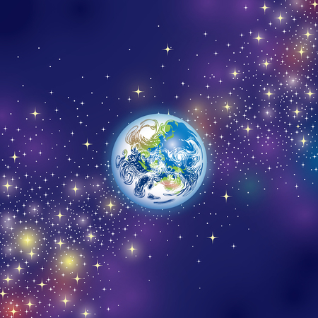 The Planet Earth in Space on a blue background.