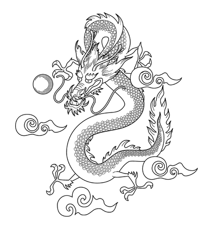 Traditional asian dragon on white background