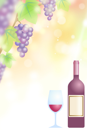 A bottle of red wine Illustration