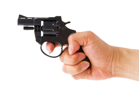 hand holding a gun, isolated on white background