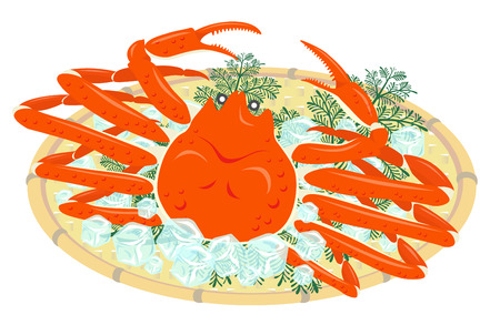 Snow crab on a bamboo basket, isolated on the white background Illustration