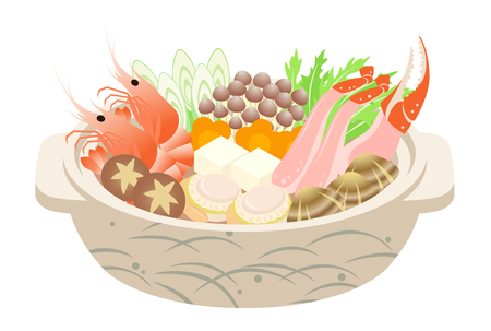 A Japanese seafood hot pot, isolated on the white background.