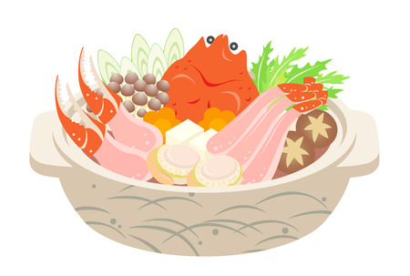 A Japanese crab hot pot, isolated on the white background.