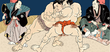 Ukiyo-e sumo match Illustration