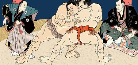 Ukiyo-e sumo match Stock Illustratie
