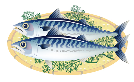 mackerels on a bamboo basket, isolated on the white background.