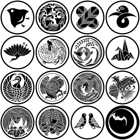 Japanese traditional bird icons