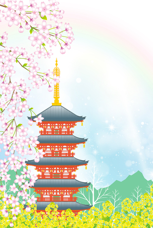 Five-storied pagoda in the springtime