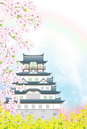 Japanese castle in the springtime Stock Illustratie