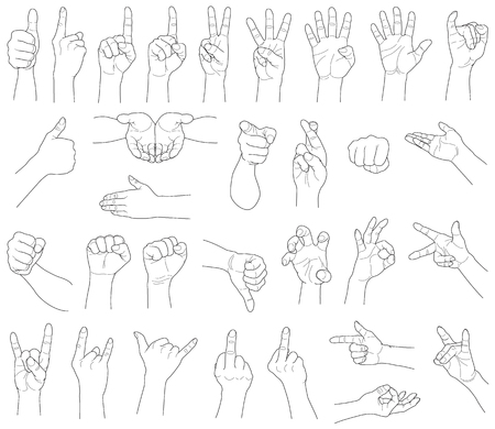 Hand gestures, isolated on white background illustration.