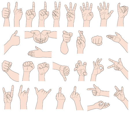 Hand gestures, isolated on white background. Vector illustration.
