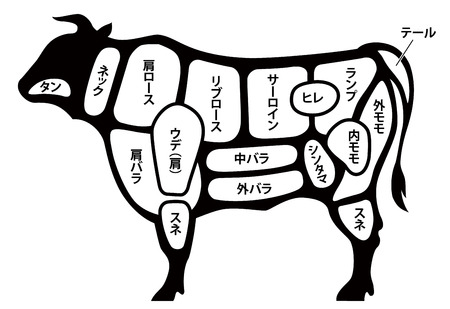 beef cuts diagram Иллюстрация