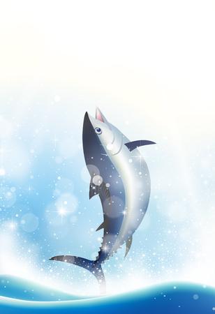 Jumping tuna fish vector illustration.