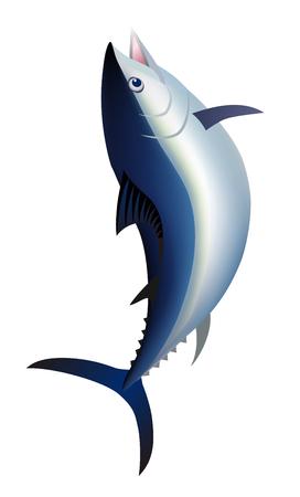 Jumping tuna fish, isolated on white background. 向量圖像