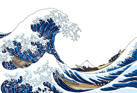 The great wave, isolated on white background. Çizim