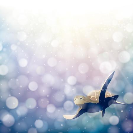 The swimming sea turtle in shining ocean Vetores