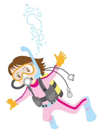 Female scuba diver, isolated on white background. Vector Illustration
