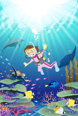 Weiblicher Taucher, der unter Wasser nahe dem Korallenriff mit tropischen Fischen taucht Vektorgrafik