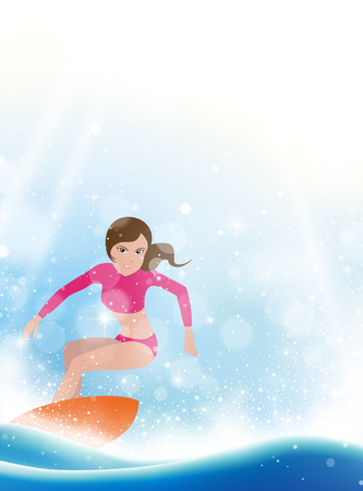 Surfing girl with surfboard on blue wave Çizim