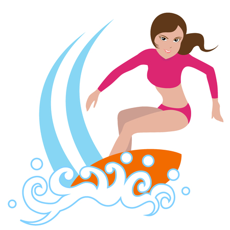 Surfing girl on surfboard, isolated on white background. Çizim